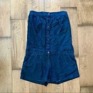 Alice & Olivia Strapless Romper Blue Shorts M +